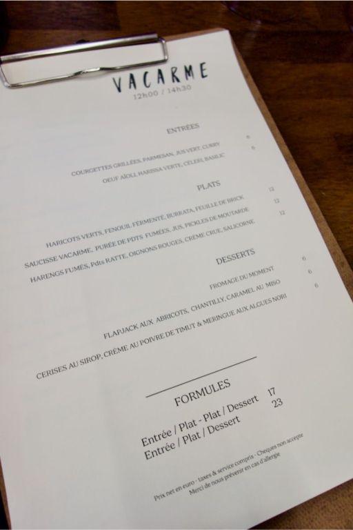 menu du restaurant vacarme à nantes