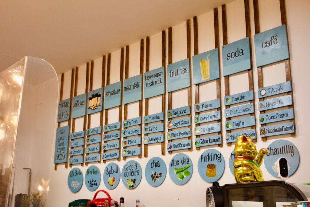 carte des bubble teas de tik tak à nantes