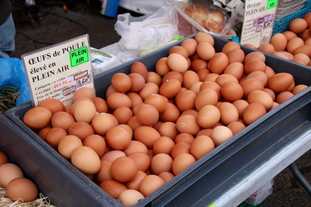 Open Air Eggs for sale at the market