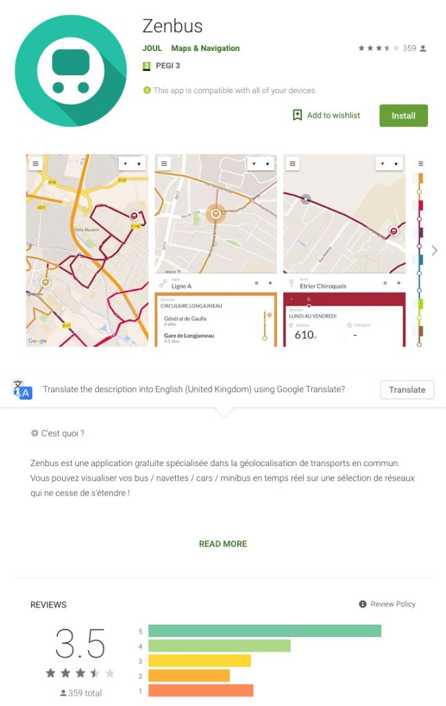 Android App Store For ZenBus