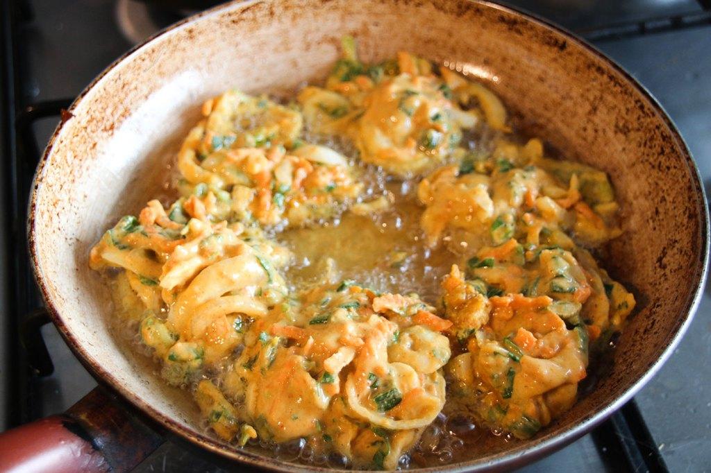 Onion Bhajis Frying