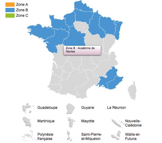 Nantes is in Zone B