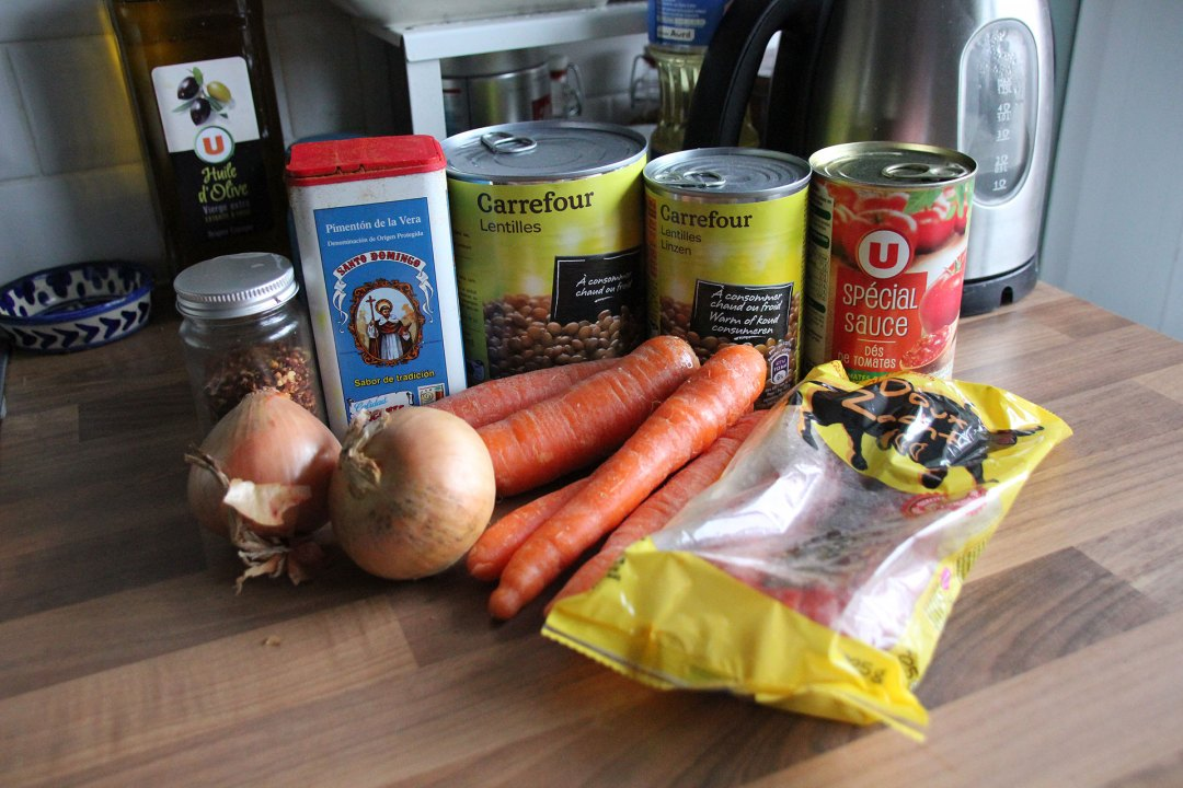 Ingredients For Lentil And Chorizo Stew