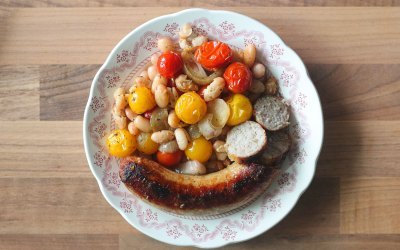 Oven Roast Sausage, Tomato, and White Beans