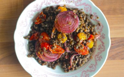 Oven Roast Cherry Tomatoes with Lentils