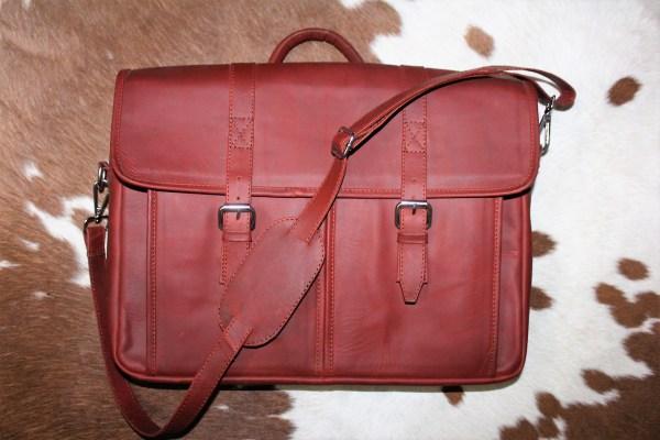 Ox blood laptop bag