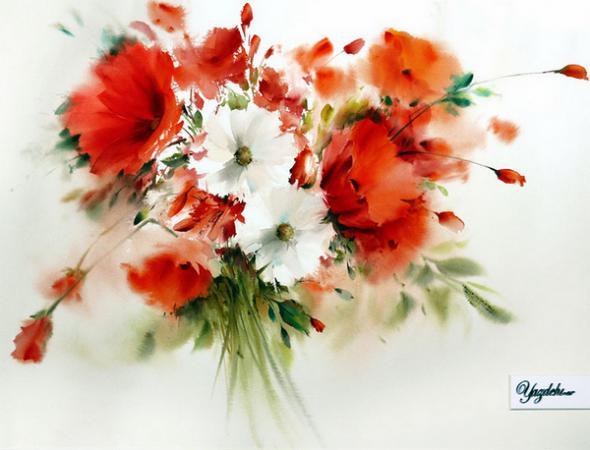 Изумительные цветы акварелью из Ирана