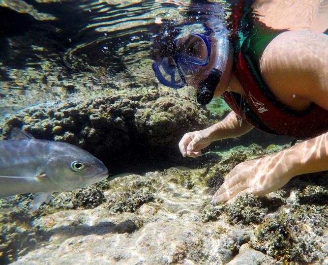 Rodrigo fazendo flututação na piscina natural do Atalaia em Fernando de Noronha.