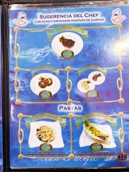 Cardápio do Ocean Pacific´s restaurante em Santiago no Chile