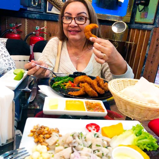 Camarão do Ocean Pacific´s restaurante em Santiago no Chile