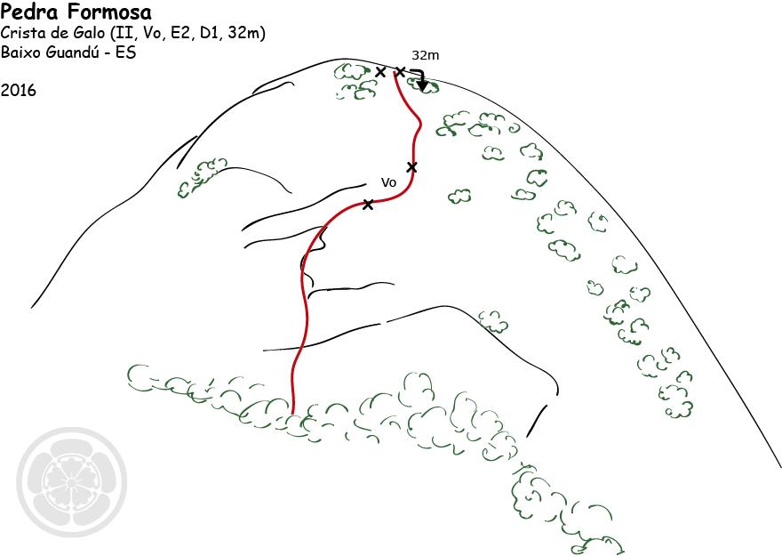 """Croqui da via """"Crista de Galo"""", Pedra Formosa, Baixo Guandú."""
