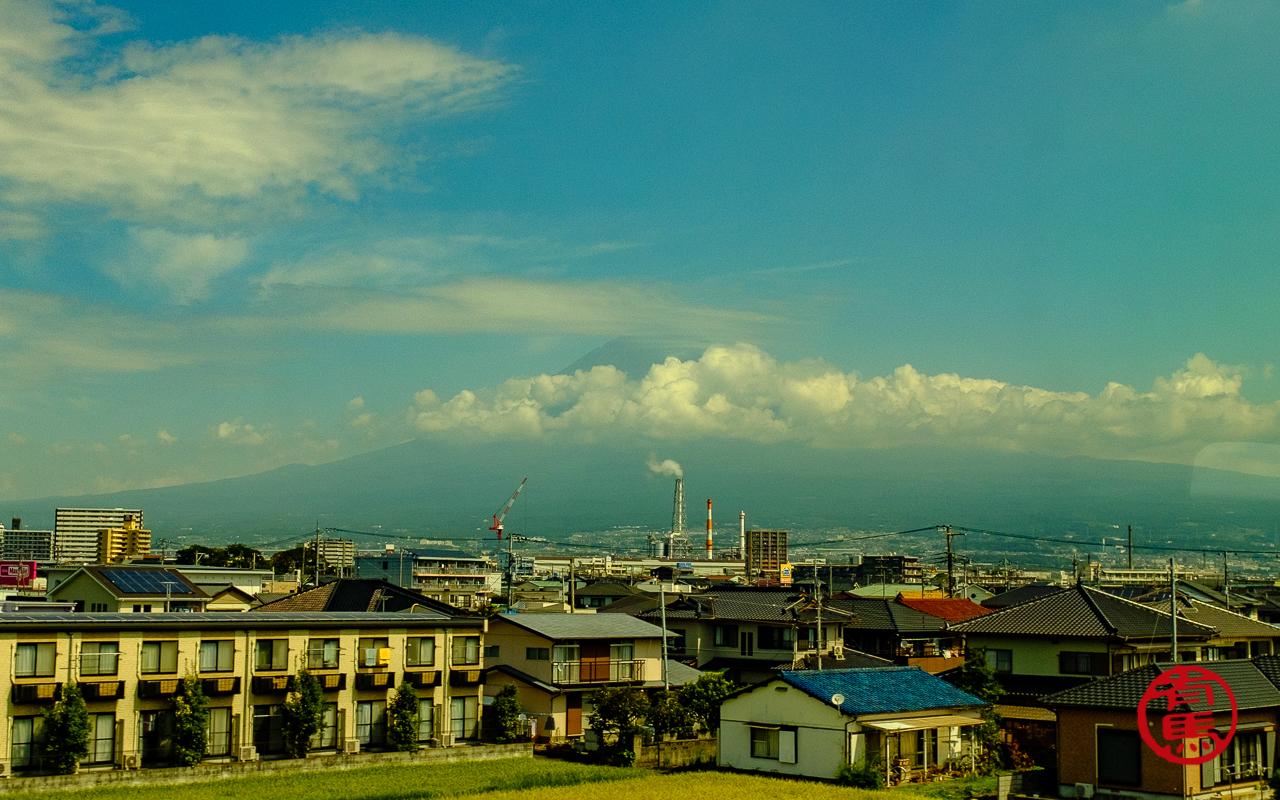 Monte Fuji visto do trem bala. A única imagem da montanha...