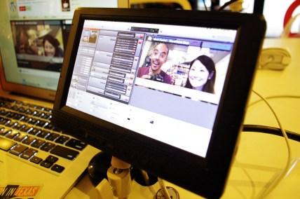Karim & I on a monitor