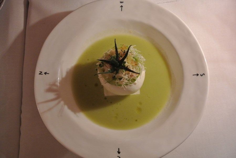 Starter - Creamy burrata, martini, champagne and lime ice cream, chilled green zebra tomato soup and grated parmesan.