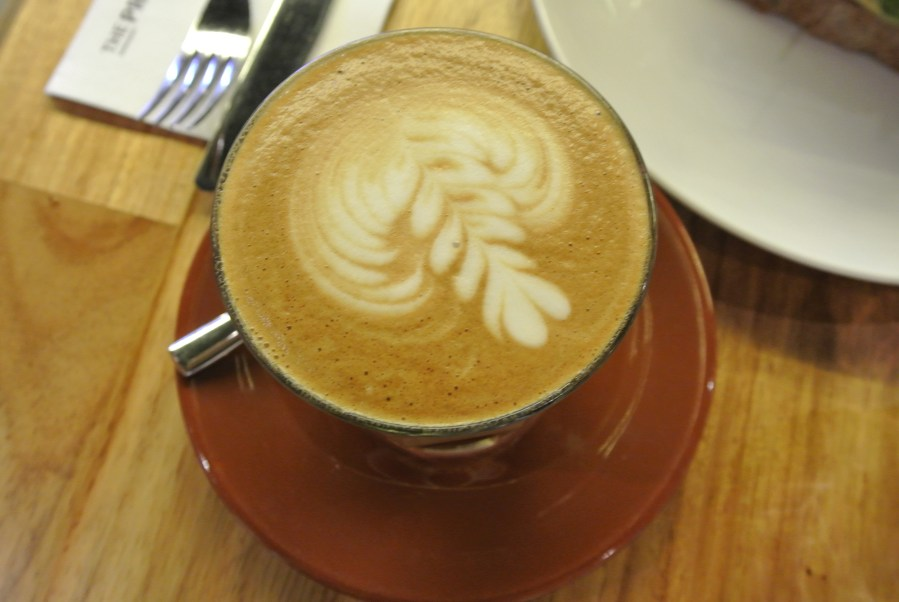 Warm caffe latte.