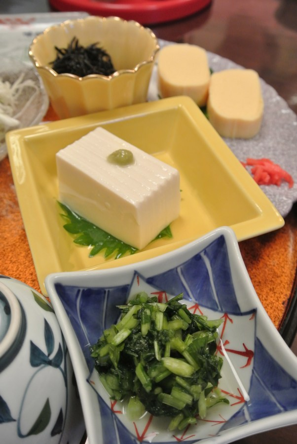 One of Kyoto's specialties is tofu, silken style with a dot of wasabi.