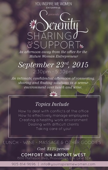 Flyer design for Women Entrepreneur Serenity Workshop