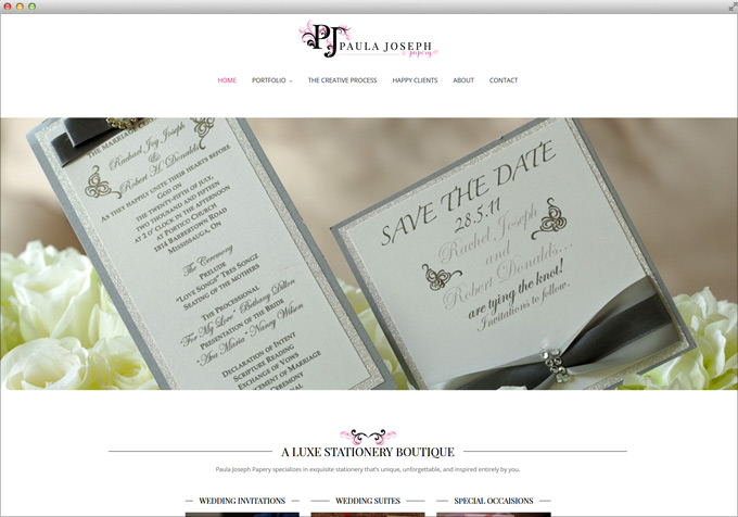 Website for Wedding Invitations by Paula Joseph Papery