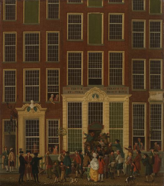 The Bookshop and Lottery Agency of Jan de Groot in the Kalverstraat in Amsterdam, Isaac Ouwater, 1779