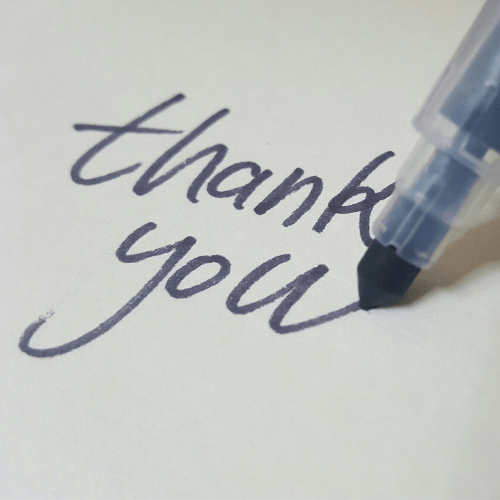 A thank you note for you