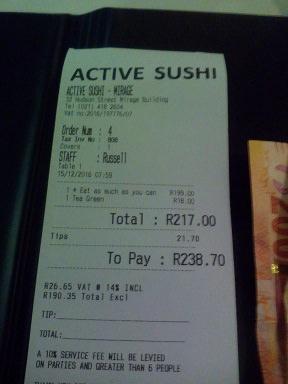 Active Sushi Receipt