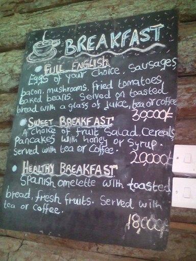 Arcadia cottage breakfast menu