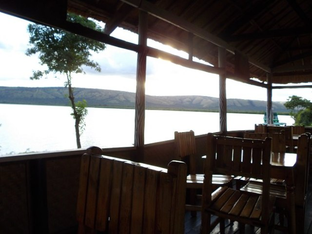 Lake side restaurant view