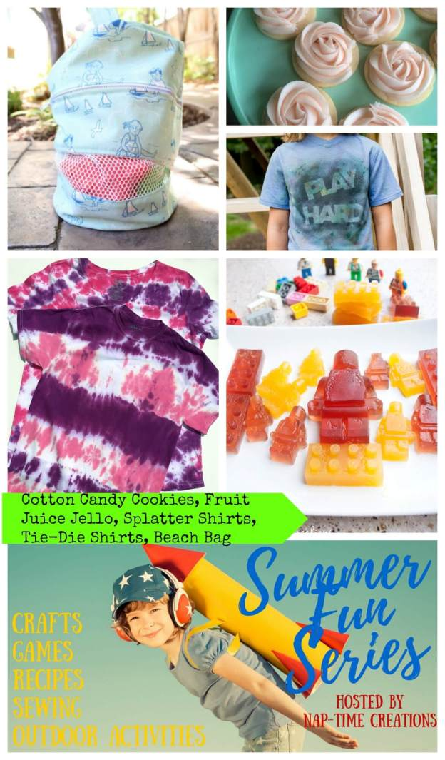 Summer Fun #1 Cotton Candy Cookies - tie dye shirts - fruit juice lego jello - Splatter shirts - Beach Bag - From Nap-Time Creations