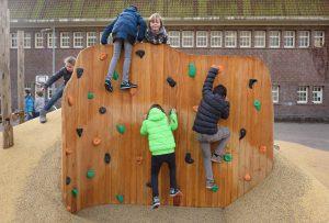 Kinderen beklimmen de klimwand