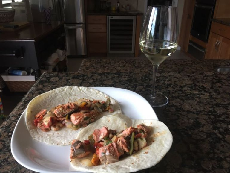 Salmon Tacos and Scratchpad Sauvignion Blanc