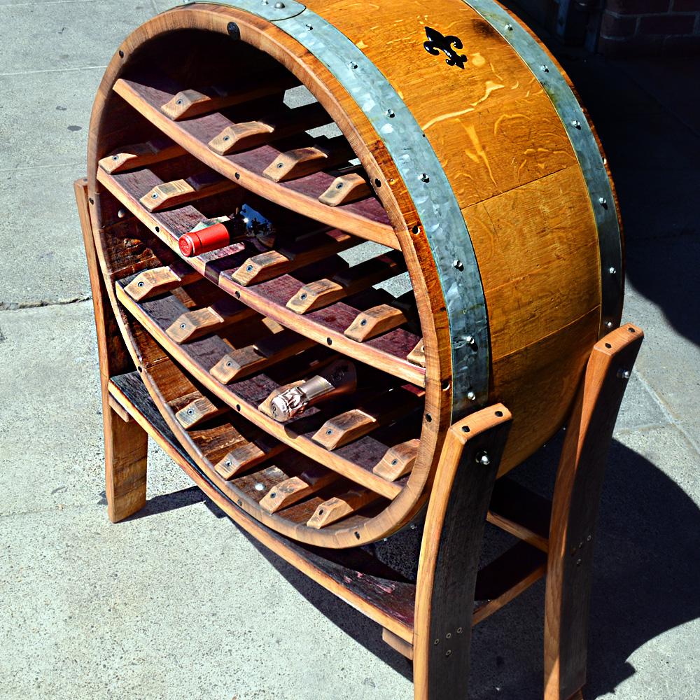 big round wine barrel wine rack