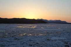 The morning sunrise of May 2nd. Ice was steadily flowing past Aniak.