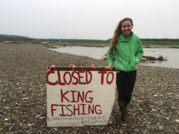 Alukaq River Sign: All sport fishing for King Salmon is closed on the Kuskokwim