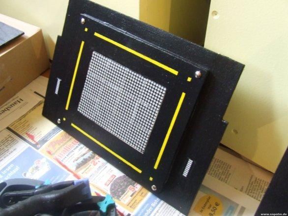 Das Hauptdisplay. 12 LED Matrix Displays.