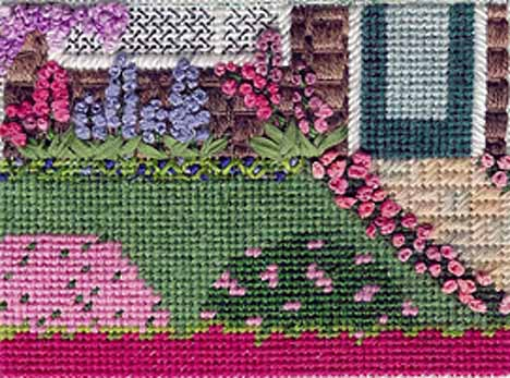 Napa Valley Garden in needlepoint designed & stitched by needlepoint expert janet m. perry