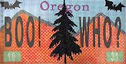 halloween needlepoint license plate from Sandy Gross-man-Morris
