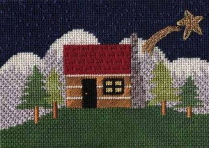 needlepoint cabin in mountains from Cat's Cradle, stitch guide by Janet Perry