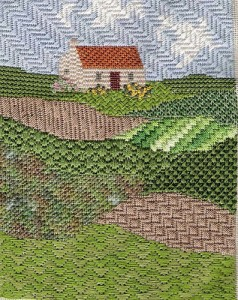 needlepoint of scottish landscape from CyberPointers program, project from Classic Stitches