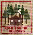 cross stitch chart of cottage in pine woods for christmas