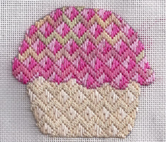 bargello needlepoint cupcake, designed by janet perry
