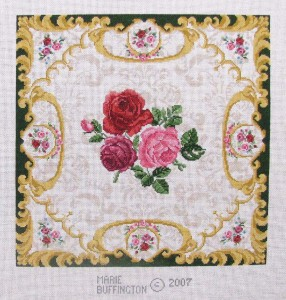 Fulton's Pillow, hand painted canvas needlepoint designed by Marie Buffington