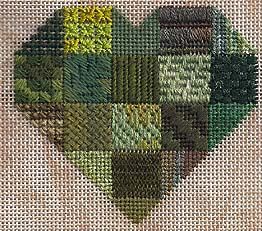 stitches for needlepoint patchwork heart sampler, designed by Janet Perry