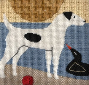 jack russell hand painted canvas needlepoint from Cat's Cradle, stitch guide by Janet Perry