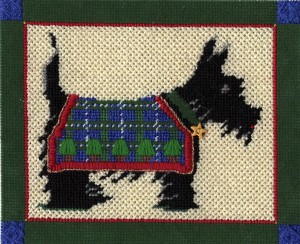 scottie hand painted canvas needlepoint by Bongo, stitch guide by Janet Perry