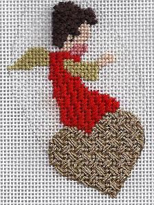 angel of love needlepoint ornament, showing french knots for hair, class by needlepoint expert janet m. perry