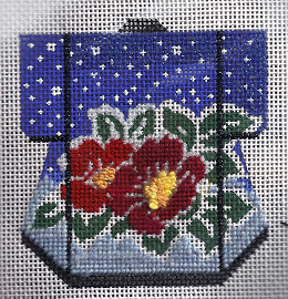 camellia kimono needlepoint by lee needle arts, stitched by needlepoint expert janet m. perry