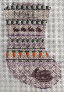 petei needlepoint mini-sock showing rabbits, stitched by needlepoint expert janet m. perry