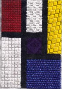 mondrian memories needlepoint class, stitch sampler taught by needlepoint expert janet m. perry with a canvas by sandy grossman-morris