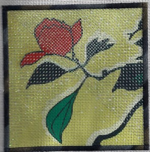 stitching glass in needlepoint with nordic gold thread