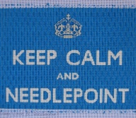 The lettering in this Keep Calm and Needlepoint canvas, expertly stitched by Vicky De Angelis of Mostly Needlepoint, was stitched in tent stitch using a white metallic thread. It draws the eye in. The background is an open stitch. What a perfect blend of stitches and fibers!